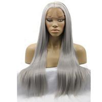 ingrosso parrucca argento lungo-Parrucche frontali in pizzo sintetico resistente al calore ad alta densità, colore grigio argento serico naturale legato a mano