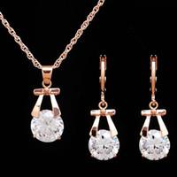 одно серьги ожерелье серьги оптовых-Hot Sale One Set Alloy/Crystal Bow Pendant Necklace and Earrings Wedding Jewelry Set For Bridal Accessories for Women Men