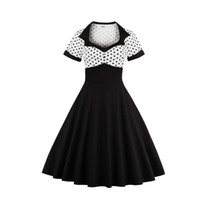 vestidos de punto para mujer al por mayor-Hepburn Style Retro Vintage Womens Swing Dress 50s 60s Polka Dot manga corta Rockabilly Evening Party Vestido de noche Sundress Nuevo