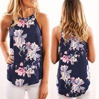 mavi çiçek bluzları toptan satış-Rahat Yaz T Gömlek Bayanlar Gevşek Çiçek Çiçek Baskı Bluz Kadınlar Tops Kolsuz Ekip Boyun Bluz T-Shirt Lacivert Tee