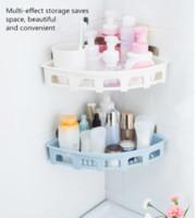 ingrosso adesivi da bagno-2PCS parete triangolo triangolazione adesivo mensola toilette cucina bagno rack