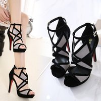 Wholesale fishing belt buckle - Spring and summer women's heels shoes Hollow fine with fish mouth sandals Sexy matching cross belt buckles high heels for female