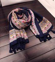ingrosso sciarpa lunga in boemia-2018 nuova sciarpa bohemien stile etnico geometrica nappa super grande sciarpa lunga sciarpa scialle protezione solare