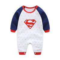 ingrosso baby clothes superman-2018 New Fashion Cartoon Cotton Kids Boy Clothes Tuta Batman Baby Boy Pagliaccetto Superman Baby Gilr Pagliaccetto Baby Costume Abbigliamento
