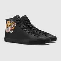 Wholesale tiger dragon - Designer high-top Casual Shoes luxury Brand textured leather with angry cat tiger dragon appliqué sneaker for men women size 35-46.