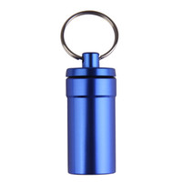 Wholesale keychain capsule resale online - Portable Aluminum Alloy Waterproof Pill Medicine Storage Case Holder Container Capsule First Aid Key Ring Keychain Outdoor Tool