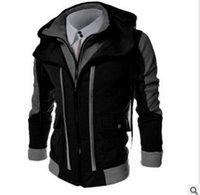 suikastçı ceketi toptan satış-Yeni Bahar Sonbahar Kapüşonlu Assassin Creed Hoodie Kazak Çift Fermuar Sahte İki Adet Patchwork Hırka Hoodie Erkekler Ceket 3XL