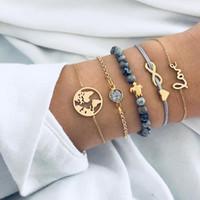unendlichkeit diamant liebe armband großhandel-5pcs Armband-Set mit Liebes-Weltkarte-Diamant-Schildkröte-Unendlichkeits-Charme-Armband-grauem Steinarmband für Frauen-Strand-Party-Geschenk