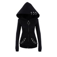 punk tarzı sweatshirt toptan satış-Kadın punk tarzı 2018 sonbahar kış siyah polar hoodie kazak demir yüzükler fermuar kapüşonlu serin koyu gotik hoodies