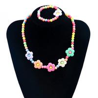 Wholesale children's bracelets online - Fashion Korean Bracelet Cute Candy Color Girls Flower Necklace Children s Jewelry Petals Acrylic Children s Necklace