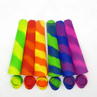 Wholesale coned stock - Popsicle Mold Silicone Color Mixing 6 Colors Non Conjoined Ice Cream Mould Tools With Cover Goods In Stock 15bh V