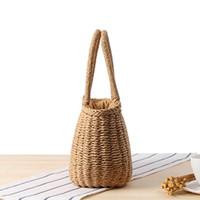 bolso de lazo de verano al por mayor-Las mujeres del verano de la vendimia de paja pequeña bolsa de lazo de compras Tote niñas playa hombro cremallera cesta bolsos bolsos de mano de las señoras