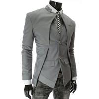 Wholesale Mens Flannel Jackets - Fashion New Mens Slim Fit Suit Jacket Korean Version Asymmetric Design Fake Two Pieces Man Blazers Casual Men Jacket Size 3XL