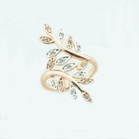 Wholesale 585 Ring - whole sale34mmX14mm Women Femme 585 Rose Gold Color Rings Zircon Cubic Leaf Rings Big Party Ring Jewelry