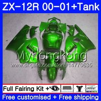 ingrosso corredi zig-zag abs zx12r-Iniezione + Serbatoio per KAWASAKI NINJA ZX1200 C ZX 12R 00 01 222HM.13 ZX 12 R 1200CC ZX12R 00 01 ZX-12R 2000 2001 Fairing completo Kit verde lucido