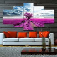 Wholesale large wall nude canvas art resale online - 5 Panel Canvas Wall Art Purple Tree Canvas Painting Large Wall Pictures for Living Room Home Decor Wall Paintings HY146 Y18102209