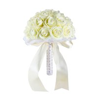Wholesale blue crystal wedding decoration resale online - Beautiful Yellow White Blue Wedding Flowers Bridal Bouquets Handmade Artificial Rose Bridal Bouquets for Wedding Decoration CPA1592