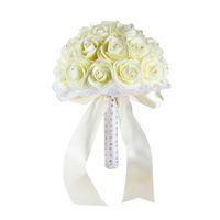 ramos de boda artificiales amarillos al por mayor-Hermosa amarillo blanco azul flores de la boda ramo de novia hecho a mano artificial Rose ramo de novia para la decoración de la boda CPA1592