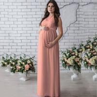 elegante kleider für schwangere großhandel-Sleeveless Sommer Neue Mutterschaft Spitzenkleid Frauen Kleidung Fotografie Requisiten Elegante Schwangere Lange Rosa Kleider