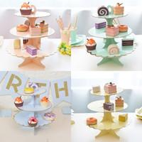 cupcakes, aniversário, bolo, tier venda por atacado-3 camada de papel grosso bolo stand cupcake stand bronzing papel monocromático descartável sobremesa mesa lanche stand festa de aniversário suprimentos