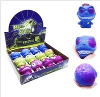 Wholesale gadgets children - Little monster Anti Stress Grape Ball Funny Gadget Vent Decompression Toys Squeeze Vent Toys Fun Toy For Adult And Children KKA5553
