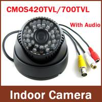 Wholesale Indoor Dome Camera Audio - Newest most popular Surveillance Audio 700TVL Color IR Indoor Dome CCTV Security Camera