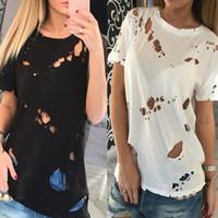agujeros negros atractivos de la camisa al por mayor-2017 Mujeres Tank Ripped Holes T-shirt Top Verano Negro Blanco Mujeres O-cuello de Manga Corta Ahueca Hacia Fuera Sexy Casual Camisetas Blusas