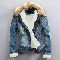 Wholesale Denim Jacket Men Thick Fur - Plus Size 2017 Winter warm Denim Jacket Men Clothing Jeans Coat Men Casual Outwear With Fur Collar Wool Thick Clothes