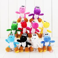"Wholesale Wholesale Mario Bros Toys - Super Mario Bros Yoshi Dinosaur Dragon Colorful Plush Toy Pendants with Keychains Stuffed Dolls (10pcs Lot ,4"" 10cm ) -D020"