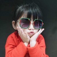 arılar çocuklar toptan satış-Çocuk güneş gözlüğü Kız moda Bebek güneş gözlüğü trendi Kare çerçeve küçük arı mektubu Çocuk güneş gözlüğü 5 RENK