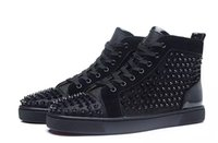Wholesale Hard Wire - [Original Box]High Quality Luxury Brand Men High Black Wire Mesh With Spikes Casual Shoes Women Red Bottom Sneakers,Unisex Flat Shoes
