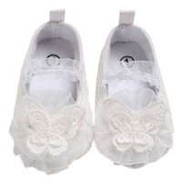 weiße prinzessin hochzeit schuhe großhandel-Karikatur-Spitze-Babyschuh-Spitze-Blumen-Karikatur-Prinzessin White Wedding Shoes First Walkers Fashion Girls
