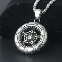Wholesale Wholesale Metal Jewelry Initials - Punk Wheel Tire Pendant Necklace With Biker Roman Number Metal Necklaces Retro Biker Jewelry For Men Gift