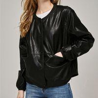 Wholesale Leather Bomber Jacket Women - Women PU Leather Jacket For Lady Button Slim Coat Casual Bomber Jacket For Lady Faux Leather Outerwear Mujer Loose Cardigan