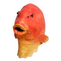 fisch halloween kostüme großhandel-Lustige Fische Kopfmaske Creepy Tier-Halloween-Kostüm-Theater Prop Neuheit Latex Goldfisch-freie Verschiffen-Maske
