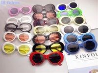 tons redondos para homens venda por atacado-19 cores nirvana kurt cobain óculos de sol do vintage retro oval óculos de sol das mulheres dos homens do punk rock shades rodada eyewear 300 pcs b11