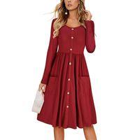caída de la moda del vestido al por mayor-2019 moda de verano vestido de manga larga falda falda de las mujeres vestidos casuales botón de bolsillo corbatas de manga corta vestido de una sola pieza Reino Unido