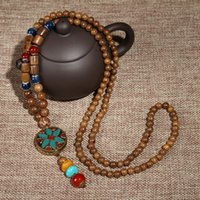 Wholesale buddhist bead necklace pendant - whole saleNepal Buddhist Mala Wood Beads Necklaces Natural Stone Pendant Necklace Ethnic Horn Long Statement Necklace Choker Gift