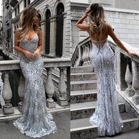 Gorgeous Sequins Applique Mermaid Long Evening Dress with Spaghetti v Neck Backless Party Dresses Floor Length Real Photo In Stock 2018-2019