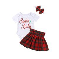 юбка рождественская юбка оптовых-3pcs Toddler Baby Girls Clothes Set Short Sleeve T-shirt Bodysuit Romper+Skirts Headband Xmas Outfits 2018 Christmas 0-24M