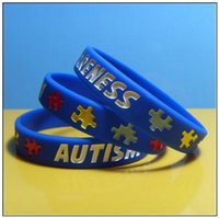 браслеты оптовых-Аутизм осведомленности силиконовый браслет резиновые браслеты чернила заполнены силиконовые браслеты браслеты для подарков дети взрослых ювелирные изделия CCA9196 500 шт.