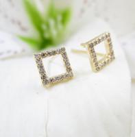 ingrosso borse a mano bianca-Orecchini dorati fatti a mano in oro bianco con diamanti e diamanti