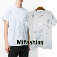 mavi gökyüzü modası toptan satış-18ss Yaz Sokak giyim Avrupa Paris Moda Erkekler Yüksek Kalite Sky Blue Büyük Kırık Delik Pamuk Tshirt Casual Kadın Tee T-shirt