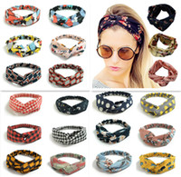 Wholesale ponytail mix colors for sale - Group buy 250 Colors colorful headband Elastic head scarf Twisted Knotted Ethnic head wrap Floral Wide Stretch Girls Hair Accessories TS001