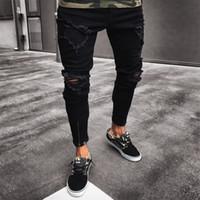 serin kot çocuk toptan satış-Mens Serin Tasarımcı Marka Siyah Kot Sıska Ripped Tahrip Streç Slim Fit Hop Hop Pantolon Erkekler Için Delikler Ile