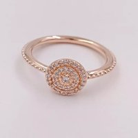 ouro original china jóias venda por atacado-Rosa de ouro radiante anéis original prata se encaixa para jóias estilo pandora 180986CZ H8ale H8