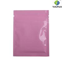 Wholesale Thick Plastic Ziplock Bags - Custom Logo 7.5x10cm (3x4in) Tear Notch Aluminum Foil Plastic Flat Ziplock Package Bags Glossy Pink Zip Lock Bag Thick