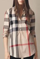 hoher kragen polo großhandel-Hecaisheng 2018 neue Marken-Frauen-kariertes Hemd-Modedesigner-Qualitäts-langärmliges Baumwollfreizeitkleidung-gestreiftes Polo-Kragen-Hemd
