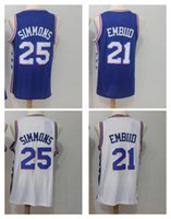 Wholesale Children Size Jerseys - Youth #25 Ben Simmo #21Joel Embiid Basketball Jerseys 2018 New Season Fan version Fashion Children Jersey Size S-XL KID BOYS polo shirt