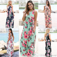 Wholesale womens petticoats resale online - New Summer Dresses Women Floral Printed Sleeveless Boho Dress Evening Gown Party Long Maxi Petticoat Womens Clothing size S XL